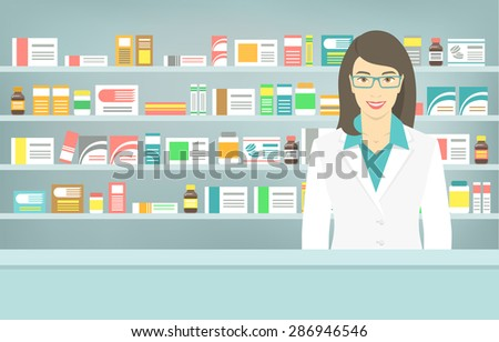 Modern flat vector illustration of a smiling young attractive female pharmacist at the counter in a pharmacy opposite the shelves with medicines. Health care conceptual background
