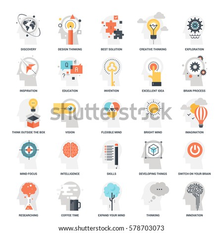Modern flat vector illustration of imagination and mind power icon design concept. Icon for mobile and web graphics. Flat symbol, logo creative concept. Simple and clean flat pictogram