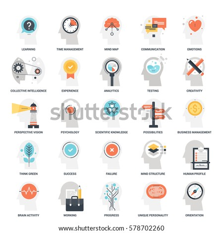 Modern flat vector illustration of thinking and brain activity icon design concept. Icon for mobile and web graphics. Flat symbol, logo creative concept. Simple and clean flat pictogram