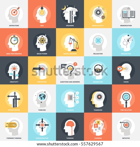Modern flat vector illustration of thinking and brain process icon design concept. Icon for mobile and web graphics. Flat symbol, logo creative concept. Simple and clean flat pictogram.