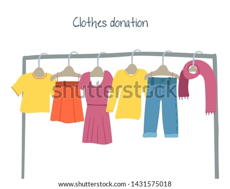 Modern flat vector illustration with clothes hangers.Clothes donation