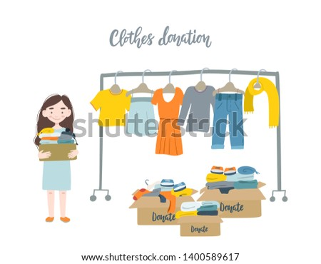 Modern flat vector illustration. Woman holding cardboard box with clothing for donation or recycling and clothes hangers.
