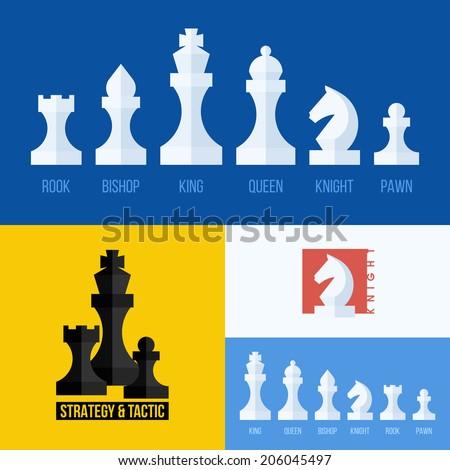 modern flat vector set of chess