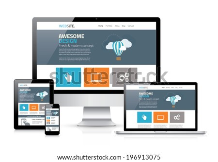 modern flat web design in