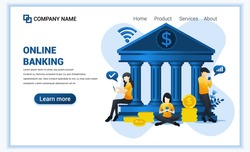 Modern flat web page design concept of Online banking, online financial investment. Flat landing page template. vector illustration