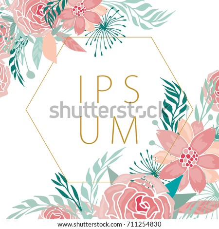 Modern floral background with fantasy roses and peonies with gold geometrical frame for your text. Can be used for wedding, greeting and birthday card, banner, poster design.