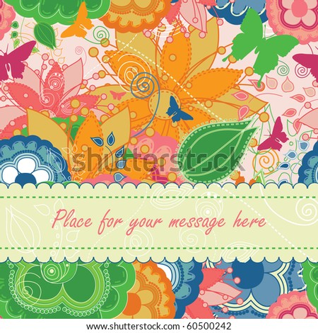 Modern Floral Greeting Card - stock vector