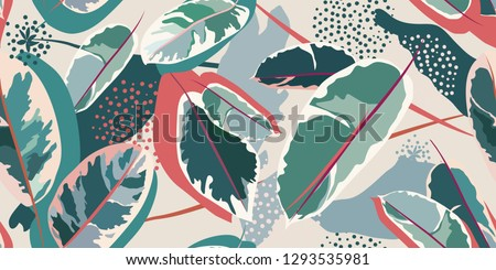 Modern floral pattern. Colorful leaves of a home plant on a light background