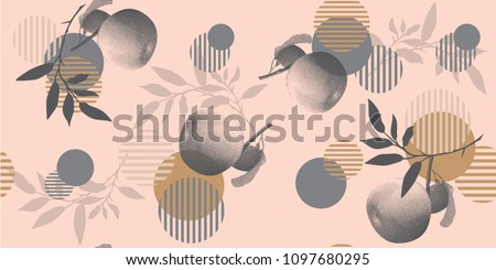 Modern floral pattern in a halftone style. Geometric shapes, apples and branches on a pink background.
