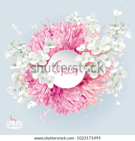Modern floral vector  art - luxurious Chrysanthemums and Apple blossom arrangement with a round paper label in watercolor style for 8 March, wedding, Valentine's Day,  Mother's Day, sales and other ev