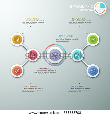 Modern flowchart or mindmap infographics template with paper circles, icons and pie chart. Vector. Can be used for web design, presentations, brochures and workflow layout #365633708