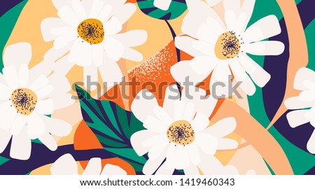 Modern flower illustration pattern. Creative collage contemporary floral pattern. Fashionable template for design