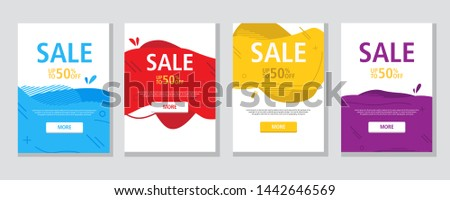 Modern fluid mobile for sale website banner, sale tag, Sale promotional material vector illustration A4. Banner template design, Flash sale special offer.