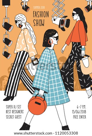 Modern flyer or poster template for fashion show with top models wearing trendy haute couture clothing and demonstrating it on runway. Colorful hand drawn vector illustration for event announcement