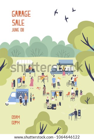 Modern flyer or poster template for garage sale or outdoor festival with food trucks, walking people, men and women buying and selling goods at park. Flat cartoon vector illustration for event promo.