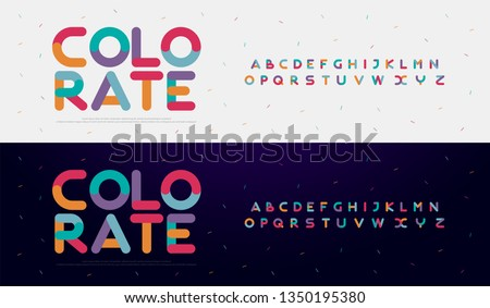 Modern font creative rounded alphabet color fonts. Typography urban round bold with colors dot exposure. vector illustration