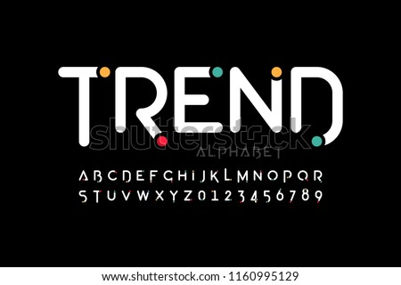 Modern font design, trendy alphabet letters and numbers vector illustration