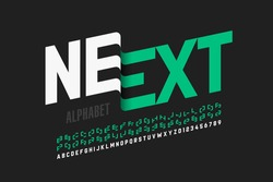 Modern font design with some alternate letters, alphabet and numbers vector illustration