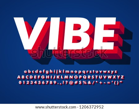 modern font, vibe 3d typeface effect with shadow, simple and cool poster title