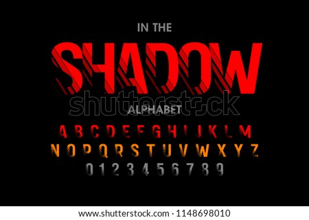 Modern font with shadow effect, alphabet letters and numbers, vector illustration