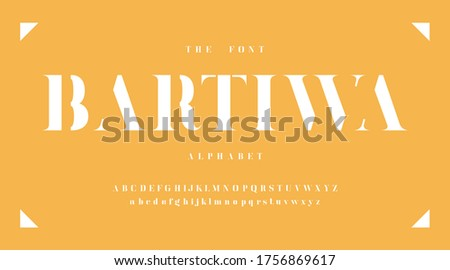 Modern fonts and alphabet, yellow luxury expensive sport minimal classic urban futuristic typeface typo typography and number, uppercase lowercase. Vector illustration. Photo stock ©
