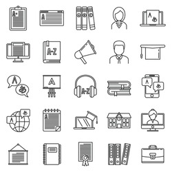 Modern foreign language teacher icons set. Outline set of modern foreign language teacher vector icons for web design isolated on white background