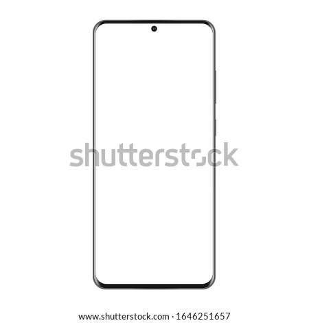 Modern frameless mobile phone mockup isolated on white background. Vector illustration