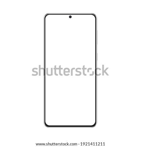 Modern Frameless Smartphone Mockup Isolated on White Background, Front View. Vector Illustration