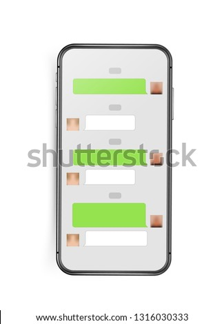 Modern frameless smartphone mockup with chat interface layout. Vector clip-art isolated on white background