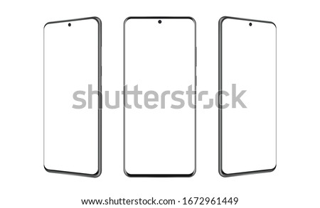 Modern frameless smartphones mockups with blank screens, isolated on white background. Vector illustration