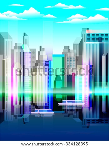 Modern, futuristic and abstract city landscape at daylight