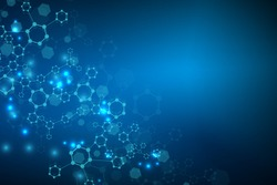 Modern futuristic background of the scientific hexagonal pattern. Virtual abstract background with particle, molecule structure for medical, technology, chemistry, science. Social network vector