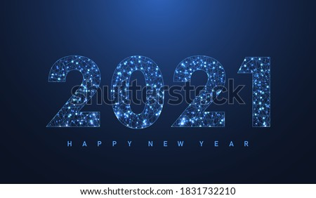 Modern futuristic technology template for Merry Christmas and Happy New Year 2021 with connected lines and dots. Plexus geometric effect. Digital data visualization. Vector illustration