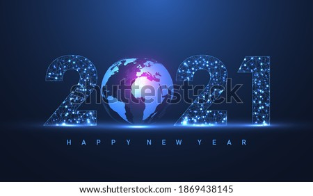 Modern futuristic technology template for Merry Christmas and Happy New Year 2021 with connected lines and dots. Plexus geometric effect. Global network connection. Vector illustration