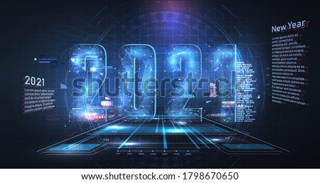 Modern futuristic technology template for 2021. New year 2021 in style HUD,GUI, UX. Futuristic background for your design.Technology background. Digital data visualization. Hi-tech concept innovation
