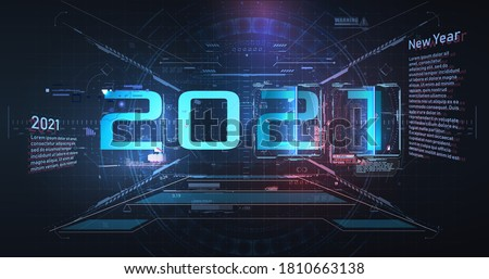 Modern futuristic technology template for 2021. New year 2021 in vr style HUD,GUI, UX. Futuristic background your design.Technology background. Digital data visualization. Hi-tech innovation. ar SPACE