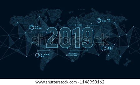 Modern futuristic template for 2019 on background with polygons connection structure and world map in pixels. Digital data visualization. Business technology concept. Vector illustration