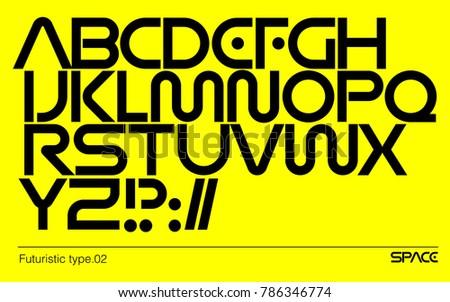 Modern futuristic typeface. Geometric sci-fi vector font. Logo branding template