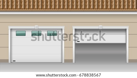 Modern garage gates for the house. Open and closed. Vector graphics