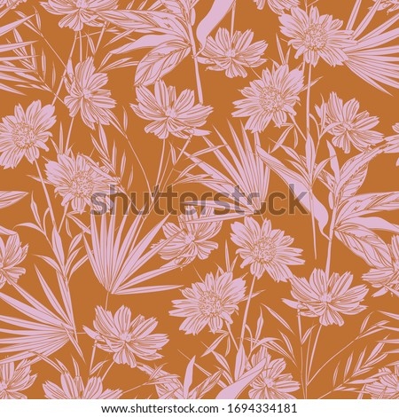 Modern garden flower monotone retro mood seamless pattern ,Design for fashion ,fabric,web,wallpaper,wrapping and all prints on vintage orange color Foto stock ©