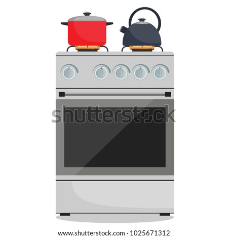 Modern gas stove, pot and kettle on it on flame. Home kitchen stove. Preparing food, cooking. Vector illustration in flat style