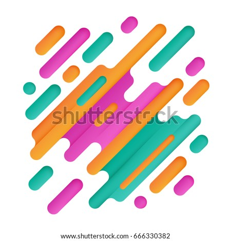 Modern geometric background with various rounded shapes in color. Abstract banner. Vector illustration of dynamic composition.