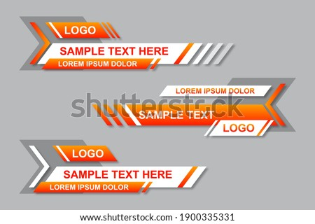 Modern geometric lower third banner template design. Colorful lower thirds set template vector. Modern, simple, clean design style Сток-фото ©