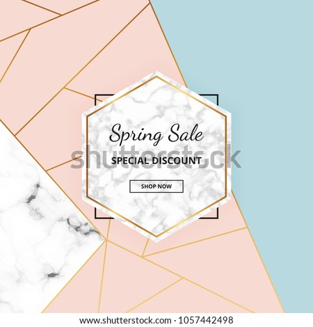 stock-vector-modern-geometric-placard-with-marble-texture-gold-lines-triangles-pastel-pink-blue-colors