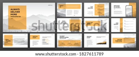 Modern geometric powerpoint presentation template set. for modern keynote presentation background, brochure design, website slider, landing page, annual report, company profile, facebook banner.