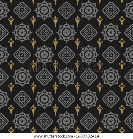 Modern geometric seamless pattern in Asian style. Dark Wallpaper, textile design texture. Vector art.
