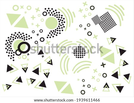 Modern geometric shapes. Square, triangular shape. Circle triangle. Abstract vector illustration. Print fabric textile cloth. Trendy backdrop creative background. Decor decorative paper Concept poster