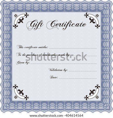Modern gift certificate. Retro design. With guilloche pattern.