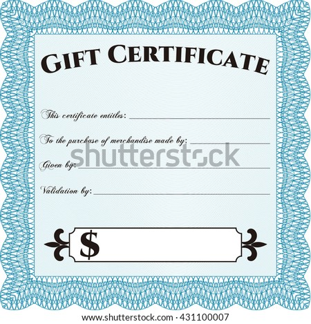 Modern gift certificate. Sophisticated design. With great quality guilloche pattern.