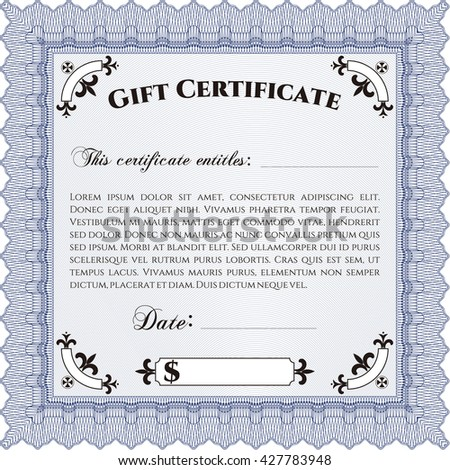 Modern gift certificate. With great quality guilloche pattern. Sophisticated design.
